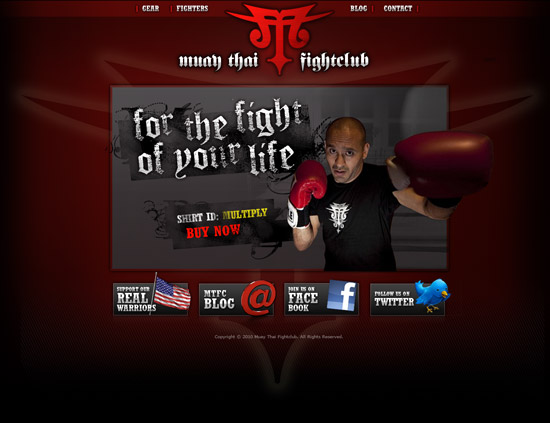 Muay Thai homepage mockup
